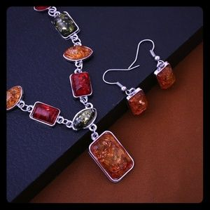 925 sterling silver African Amber jewelry set